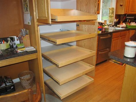 Custom DIY Pantry Pull Out Shelves Beside Cabinet Ideas