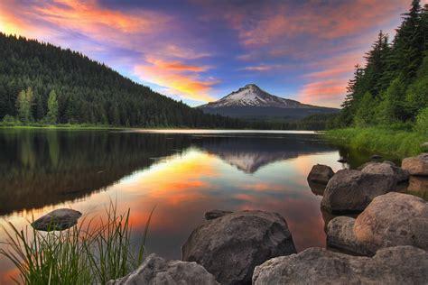 sunset  trillium lake  mount hood hdr