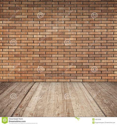 mattoni pavimento interno muro di mattoni rosso e pavimento di legno interno vuoto