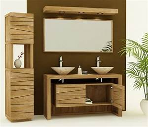 Sol Bois Salle De Bain : meuble salle de bain bois double vasque carrelage salle ~ Premium-room.com Idées de Décoration