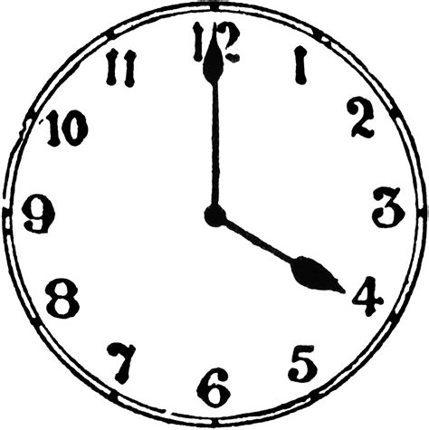 Clock Four 4 O Clock Clipart Etc