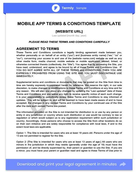 terms and conditions for store template mobile app terms conditions template writing guide termly