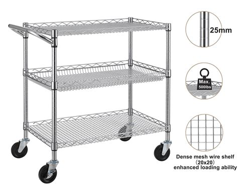Finnhomy 3 Tier Heavy Duty Commercial Grade Utility Cart, Wire Rolling Cart With 696543894970 Plastic Surgeons In Chattanooga Airport Bags Black Wristbands File Folder Miracle Watts Surgery Bakery Trays Rugby Studs Wood Or Toilet Seat