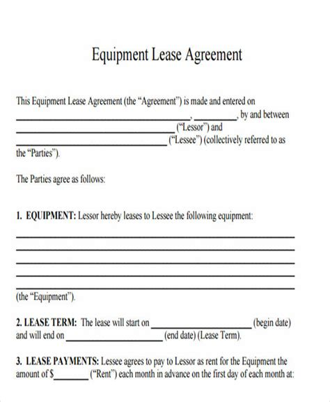printable lease agreement templates word  pages