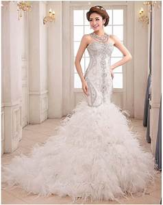 wedding dresses luxury mermaid wedding gown sweetheart With feather mermaid wedding dress