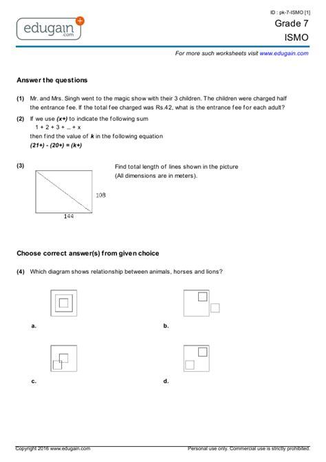 grade  ismo printable worksheets  practice