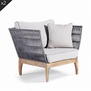 Fauteuil Jardin Bois : fauteuil de jardin bois et corde nokor by drawer ~ Teatrodelosmanantiales.com Idées de Décoration