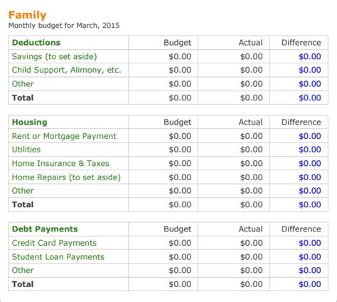 family budget template   samples examples format