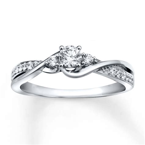 Jared   Diamond Engagement Ring 1/3 ct tw Round cut 10K White Gold