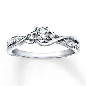 jared diamond engagement ring 1 3 ct tw round cut 10k With white gold diamond cut wedding ring