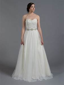 ivory strapless lace wedding dress with tulle skirt With tulle skirt wedding dress