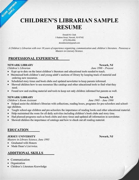 Librarian Resume Sle by Childrens Librarian Resume Sle Http Resumecompanion
