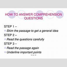 Reading Comprehension Summary