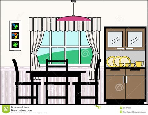 Room Clipart Dinning Room  Pencil And In Color Room