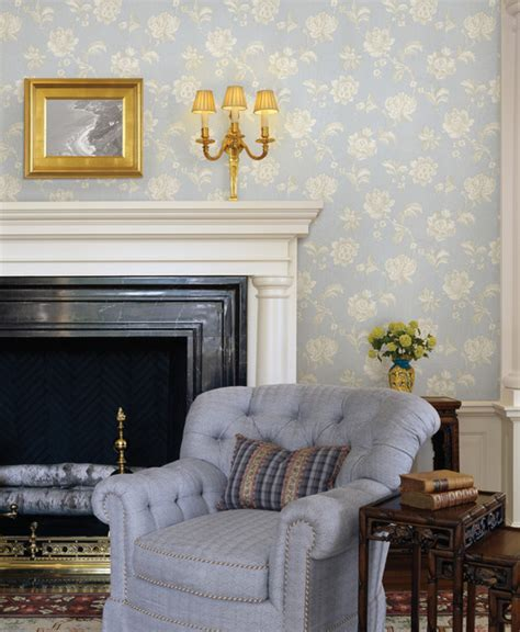 blue wallpaper traditional living room