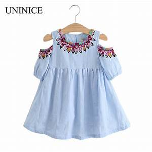 UNINICE Summer Girls Dress 2017 Design Kids Clothes For Girls Fashion Strapless Embroidery ...