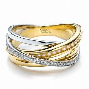 custom women39s pearl and diamond wedding band 100011 With women s engagement and wedding rings