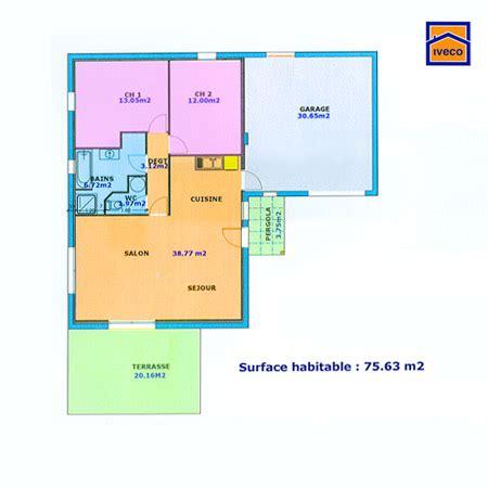 plan de maison plain pied 2 chambres et garage plan de maison individuelle plain pied
