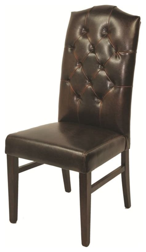 leather mocha tufted high back chair contemporary