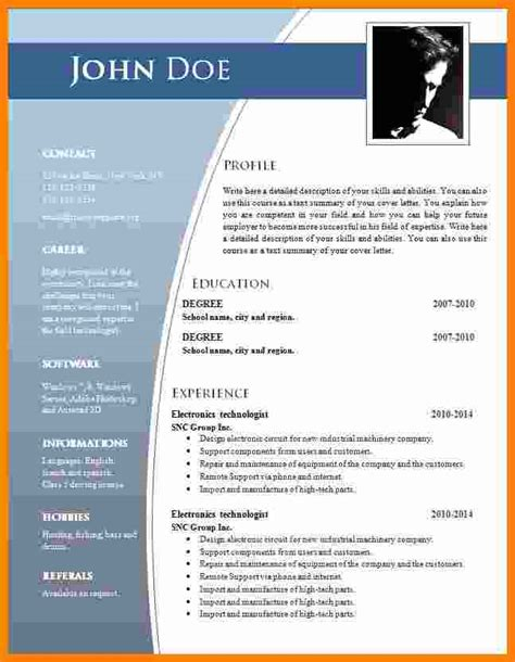 Curriculum Template Word by 5 Curriculum Vitae Doc Theorynpractice