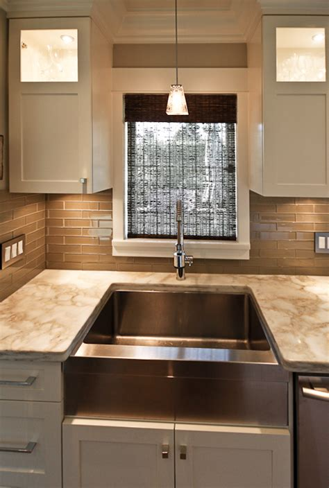 taupe glass tile transitional kitchen trish