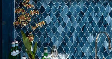 navy blue arabesque mosaic backsplash design  ashley