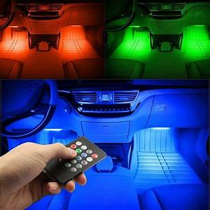 4pcs, 48, Usb, Led, Interior, Lights, Multicolor, Music, Car, Strip, Light, With, Sound, Active, Function, And