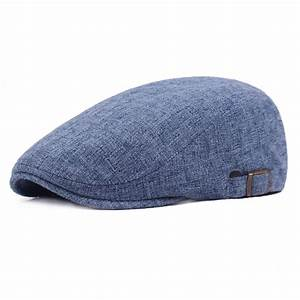 High-quality Mens Vintage Linen Solid Color Beret Caps ...