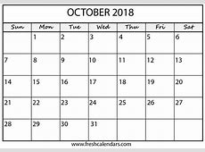 Blank October 2018 Calendar Printable Templates