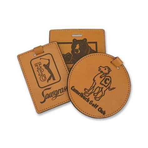 custom logo engraved leather golf bag tag