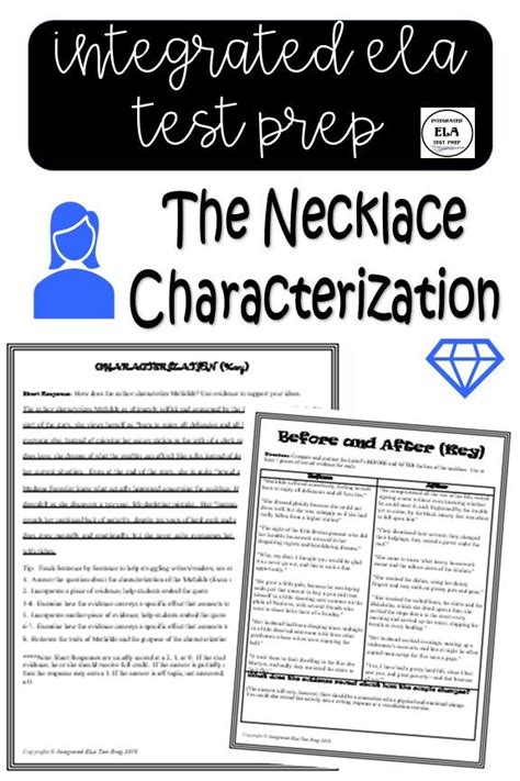 necklace worksheet  answer key characterization guy