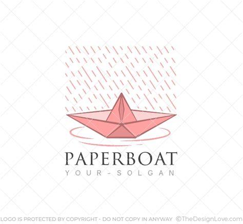 paper boat logo business card template  design love
