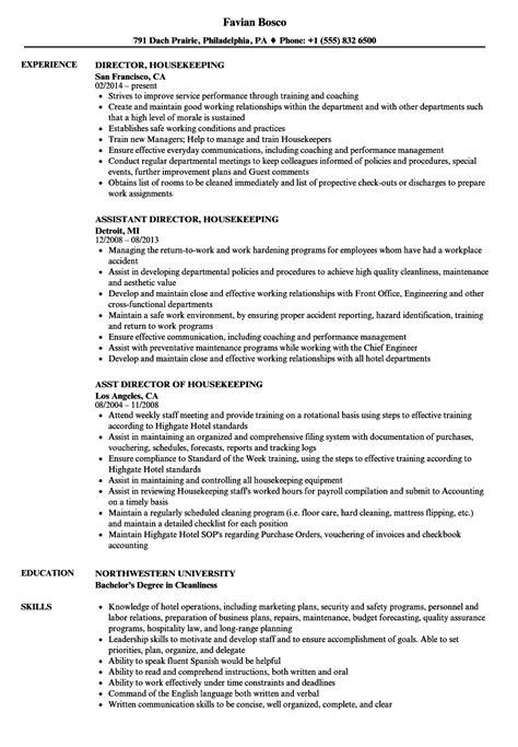 Exles Of Housekeeping Resumes by Director Housekeeping Resume Sles Velvet