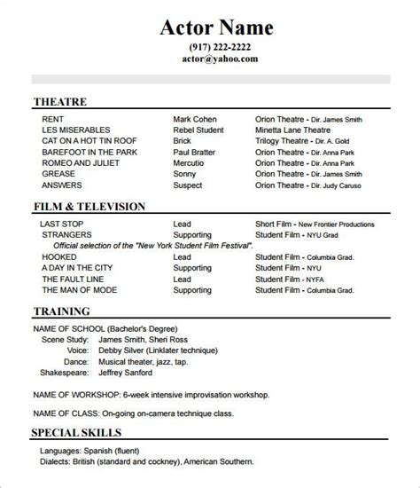 Resume Format For Actors by Best 25 Acting Resume Template Ideas On Resume Exles Free Resume And