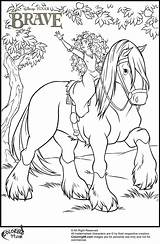 Coloring Pages Princess Horse Merida Disney Brave Angus Popular sketch template