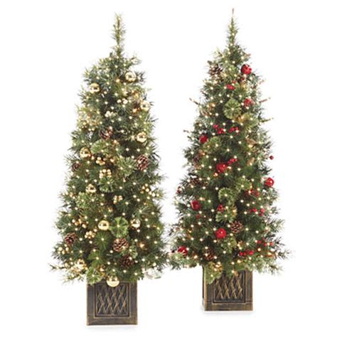 4 pre lit artificial urn christmas trees pre decorated
