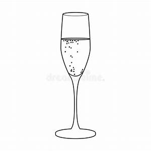 Glass Of Champagne Icon In Outline Style Isolated On White ...