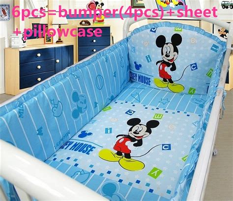 discount 6 7pcs mickey mouse baby crib bedding set baby