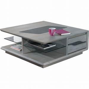 Table Basse Carrée : table basse carr e grise meuble de salon style contemporain ~ Teatrodelosmanantiales.com Idées de Décoration