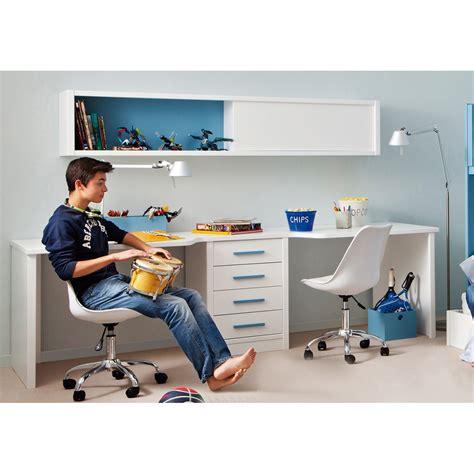 bureau etagere design bureau pour 2 enfants avec caisson et étagère asoral