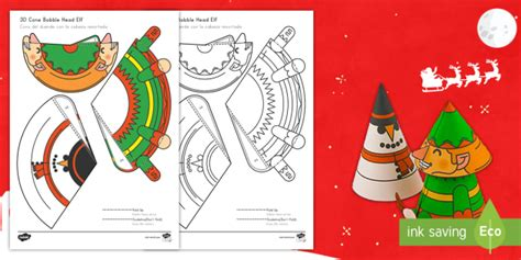 cone template twinkl simple 3d cone elf bobble head christmas activity paper