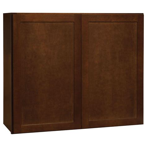 home depot cognac cabinets hton bay assembled 30x36x12 in shaker wall cabinet in