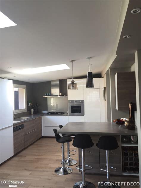 cuisine americaine appartement cuisine ouverte sur séjour fe concept deco côté maison