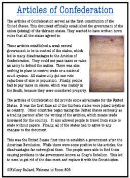 articles  confederation reading  comprehension