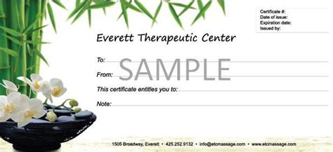 massage gift certificate template editable