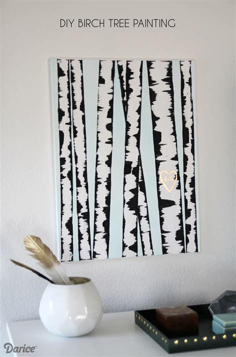 diy wall art birch tree painting tutorial darice
