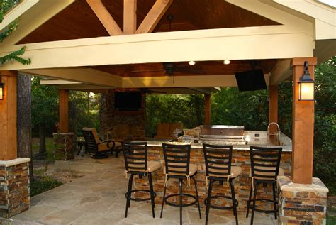 Freestanding Patio Cover With Kitchen Fireplace In The