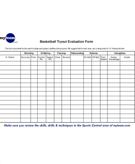 sample basketball evaluation form  examples  word