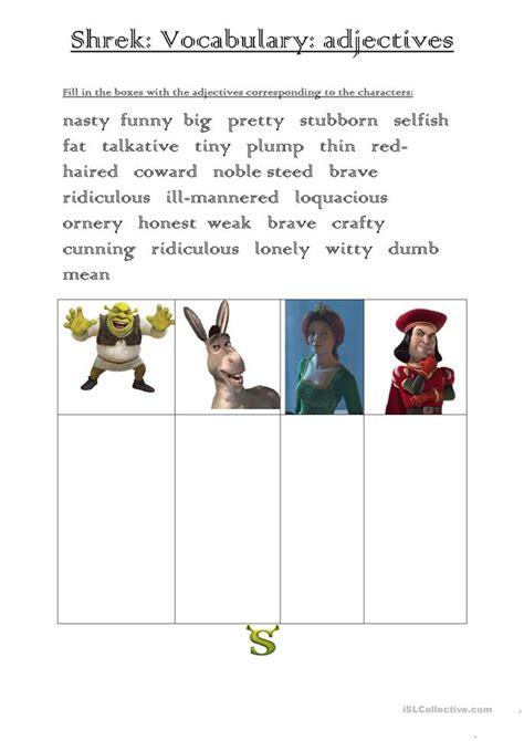 shrek worksheets shrek adjectives vocabulary worksheet free esl printable