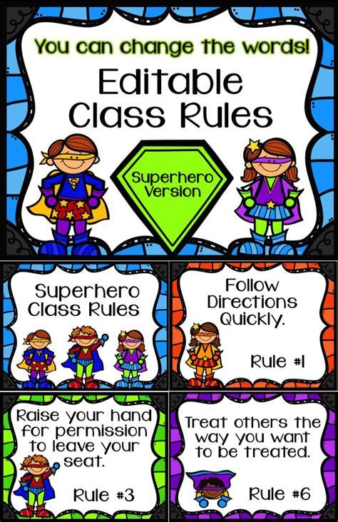 classroom rules template editable class rules superhero theme classroom heroes